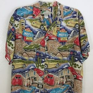 Paradise Found Mens Hawaiian Route 66 Shirt XL